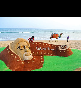 Largest sand sculpture of cinema star