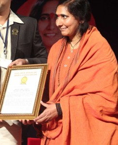World Record Holder-Didi Maa Ritambhara ji- Vatsalya Gram-awarded Golden Book of World Records_gbwr