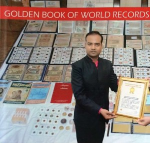 Golden Book of World Record-largest collection of coins from most number of kingdoms-Mr. Amit Murarka- Beawar- Rajasthan-India-gbwr