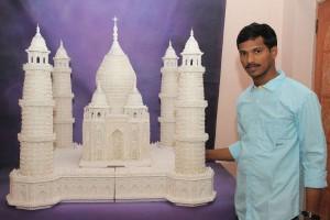 Golden Book World Record -Largest Ear-Bud Sculpture of Taj Mahal_gbwr