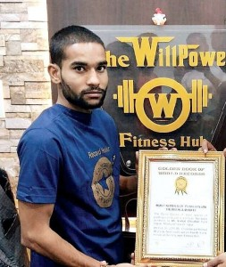 Golden Book of World Records-most number of push-ups on thumb in a minute-Vishal Chouhan-Indore- Madhya Pradesh- India_Compress