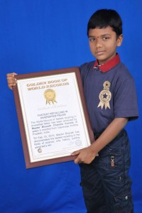 Golden Book of  World Record fastest recalling in diversified fields  Master Bharath Chandra Korada  Gajularega Andhra Pradesh India GBWR