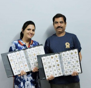 Golden Book of  World Record largest collection of coins from most UN countries Mr. Shyam Sundar Sadhnani Beawar Rajasthan India GBWR